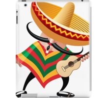mexican musician in sombrero with guitar drawn in cartoon style iPad Case/Skin