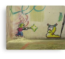 Little PIxel Guy and Worm Canvas Print