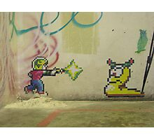 Little PIxel Guy and Worm Photographic Print