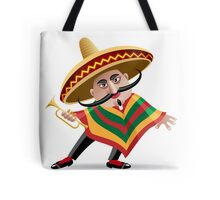 mexican musician in sombrero with trumpet drawn in cartoon style Tote Bag