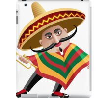 mexican musician in sombrero with trumpet drawn in cartoon style iPad Case/Skin