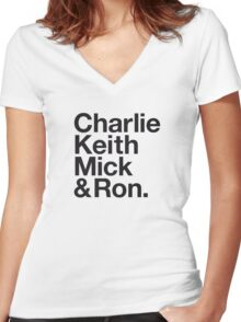 CHARLIE, KEITH, MICK & RON. Women's Fitted V-Neck T-Shirt