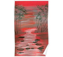River flowing through the trees Poster