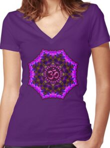 Pink Purple Aum Om Geometry Women's Fitted V-Neck T-Shirt