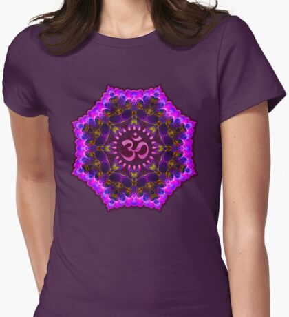 Pink Purple Aum Om Geometry Womens Fitted T-Shirt