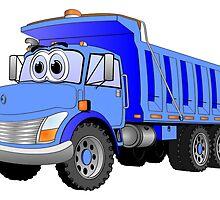 Blue Dump Truck 3 Axle Cartoon by Graphxpro