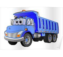 Blue Dump Truck 3 Axle Cartoon Poster