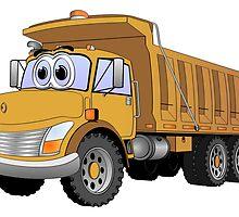 Brown Dumpt Truck 3 Axle Cartoon by Graphxpro