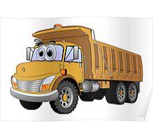Brown Dumpt Truck 3 Axle Cartoon Poster