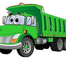 Green Dump Truck 3 Axle Cartoon by Graphxpro