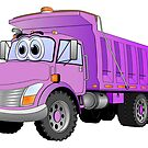 Purple Dump Truck 3 Axle Cartoon by Graphxpro