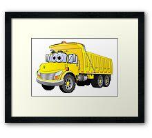 Yellow Dump Truck 3 Axle Cartoon Framed Print