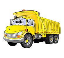 Yellow Dump Truck 3 Axle Cartoon Photographic Print