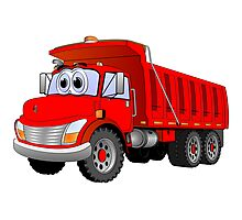 Red Dump Truck 3 Axle Cartoon Photographic Print