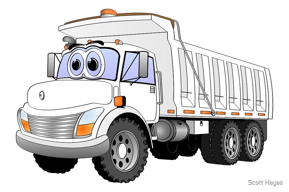 White Dump Truck 3 Axle Cartoon by Graphxpro
