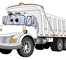 White Dump Truck 3 Axle Cartoon by Graphxpro
