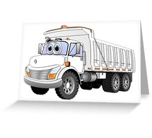 White Dump Truck 3 Axle Cartoon Greeting Card