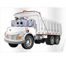 White Dump Truck 3 Axle Cartoon Poster