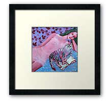 Purple lady, reading cat, opened book, flower and wine patterns Framed Print