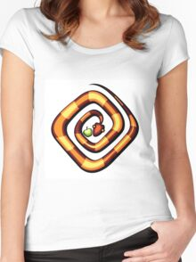 vector illustration of snake and apple laying on a dune Women's Fitted Scoop T-Shirt