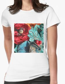 Poppy Machine Embroidery 5 Womens Fitted T-Shirt