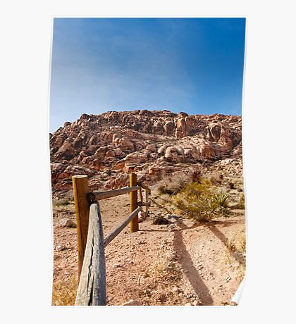 Wood Rail Fence Into Desert Toward Mountains Poster