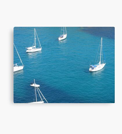 Boats in a Menorcan bay. Canvas Print