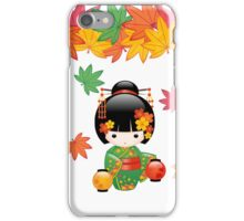 Japanese Fall Kokeshi Doll iPhone Case/Skin