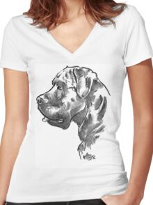 Cane Corso Drawing Women's Fitted V-Neck T-Shirt