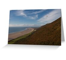Paragliding at Rhossili Gower Greeting Card