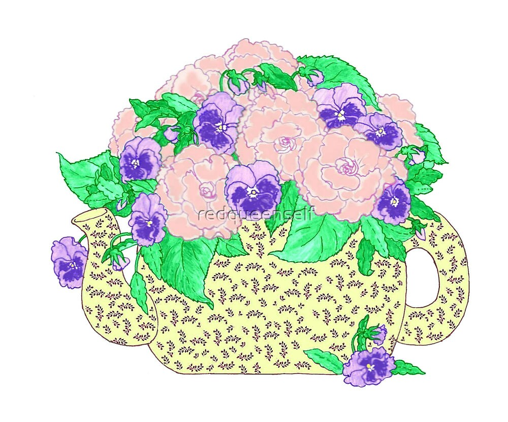 Peonies and Pansies by redqueenself