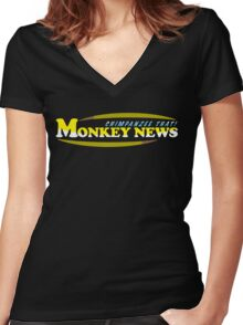 Chimpanzee That! Monkey News Women's Fitted V-Neck T-Shirt