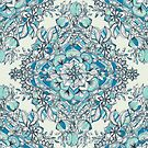 Floral Diamond Doodle in Teal and Turquoise by micklyn