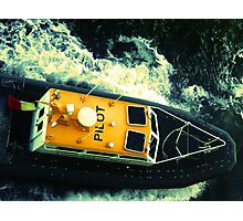 Pilot boat off the coast of Honolulu, HI Photographic Print