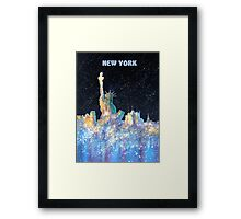New York - Liberty and Skyline  Framed Print