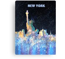 New York - Liberty and Skyline  Canvas Print