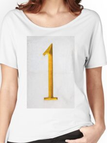 Golden number one on stone wall Women's Relaxed Fit T-Shirt