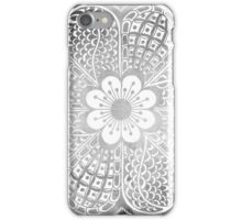 Vintage black white watercolor lace floral pattern iPhone Case/Skin