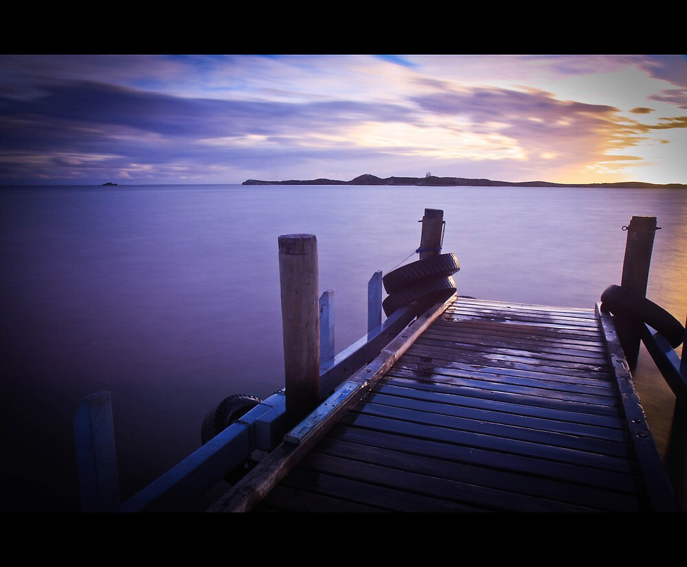 Penguin island jetty at sunset by MarcRusso