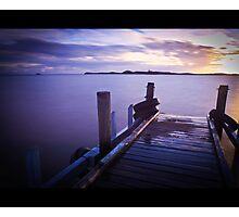 Penguin island jetty at sunset Photographic Print