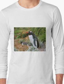 Gentoo Penguins on the Nest Long Sleeve T-Shirt
