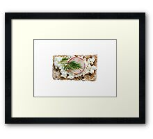 Crispbread with cottage cheese radishes and dill isolated Framed Print
