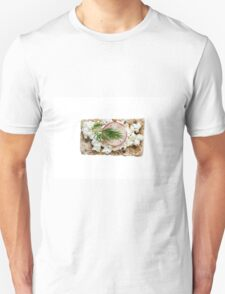 Crispbread with cottage cheese radishes and dill isolated Unisex T-Shirt