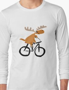 Funny Moose is Riding on a Bicycle Long Sleeve T-Shirt