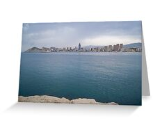Skyline of Benidorm with it's sky-scraper Grand Hotel Bali Greeting Card