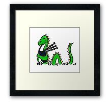 Funny Loch Ness Monster Playing the Bagpipes Framed Print