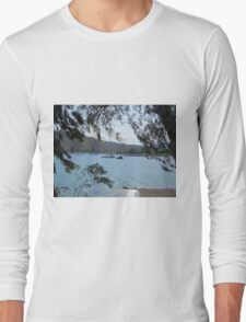 Boats on the water through trees Long Sleeve T-Shirt