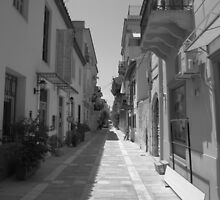Nafplio shopping street in black and white by Eleanor11