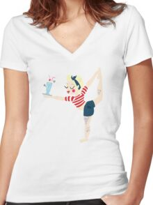 Pin Up Yoga Women's Fitted V-Neck T-Shirt