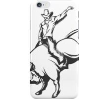 Rodeo cowboy riding a wild bull iPhone Case/Skin